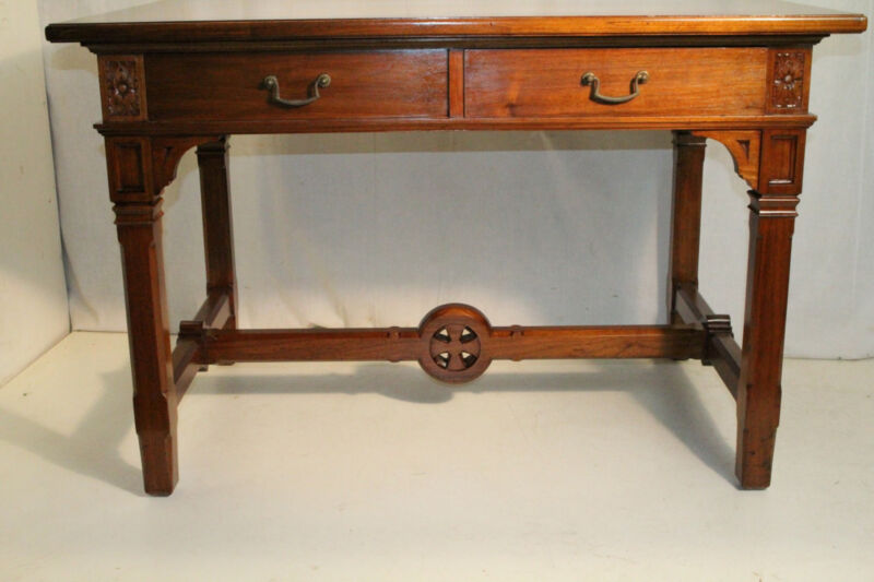 19th C Great Gothic Style American Solid Walnut Writing Table With Two Drawers