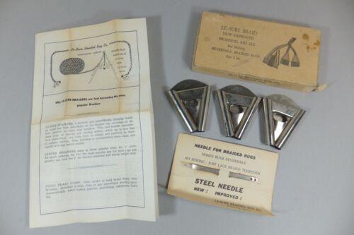 "Le Sure 2"" Rug Braiding Set of 3 Triangles & Steel Needle Reversible Braided Kit"