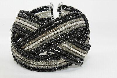 Braided Wire Bracelet - Beautiful Handmade Gray Black Braided Plastic Seed Bead Wire Cuff Bracelet J8