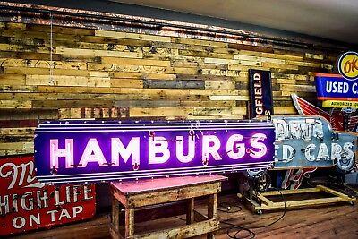 1950's Original Hamburgs Hamburgers Diner Neon Porcelain Sign WORKING Will Ship