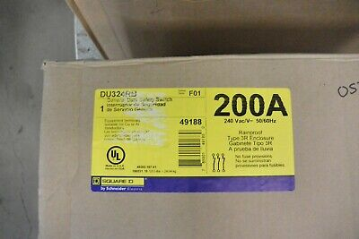 Du324rb Square D 200 Amp 240v Non Fused General Duty 3r Outdoor Disconnect New