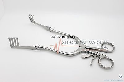 Or Grade Beckman Weitlaner Retractor With Hinged Blades 9 Sharp 3x4 Prong