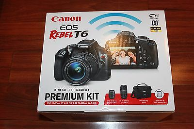 New Canon Rebel T6 SLR Camera 2 lens Kit with 18-55& 75-300mm, bag, 16gb SD card
