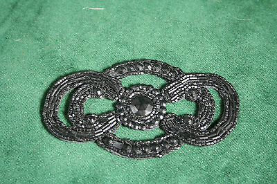 A Large Antique Jet Applique 4.5 inches Wide