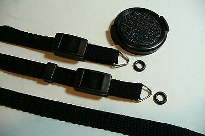 "Olympus Trip 35 Lens Cap & Camera Neck Shoulder Strap with Protectors 40"" Black"