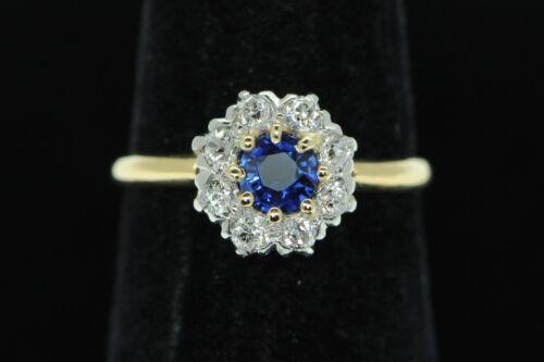 Art Deco (ca. 1920) 14K Yellow Gold Platinum Sapphire European Cut Diamond Ring