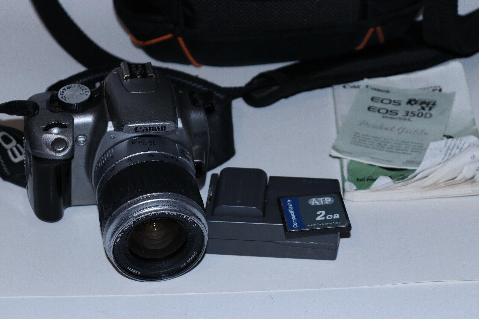Canon EOS Digital Rebel XT / EOS 350D 8.0MP DSLR W/ Canon 28-90mm AF Lens More - $78.00