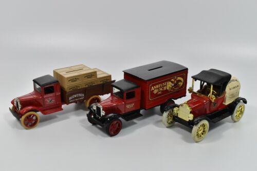 Lot of 3 Budweiser Anheuser Busch Beer Ertl Die Cast Metal Bank Delivery Trucks
