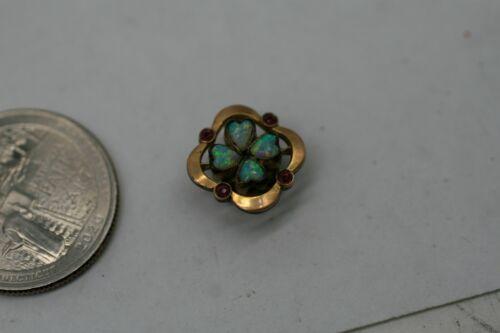Antique Victorian Gold Filled Natural Opal  RUBY Slide Charm 1.6 GR A10