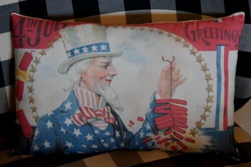 Antique primitive vintage 4th of July postcard pillow uncle Sam firecrackers