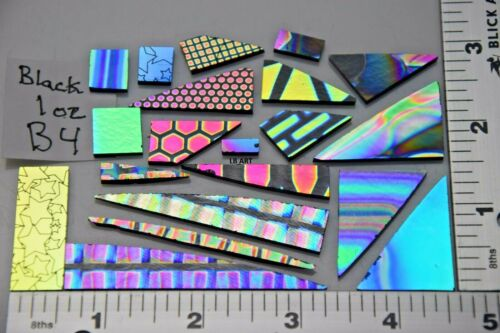 Lot B4 1oz Thin Black Coatings by Sandberg Patterned Dichroic Scrap Glass 90 COE