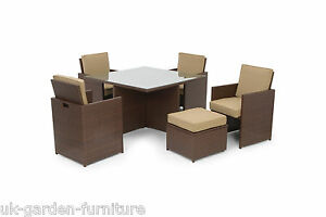 4 6 8 12 Seat BROWN Rattan Cube Garden Dining Furniture Sets Aluminium Frame