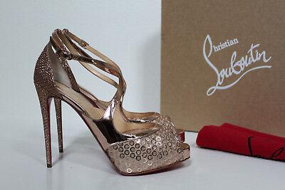 sz 8 / 38.5 Christian Louboutin Rose Gold Glitter Mira Bella Sandal Pump Shoes