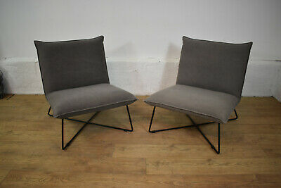 Maisons Du Monde Charcoal Fabric Armchairs Pair - Excellent Condition