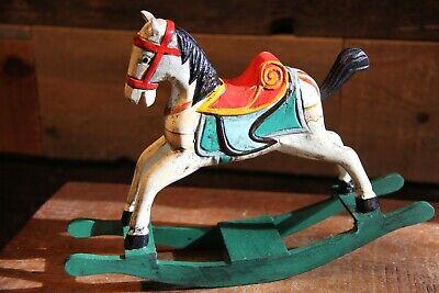 Dollhouse Miniature Vintage Wooden Wood Toy Rocking Horse Brass Rocking Horse Figurine Miniature Vintage Kids Childs Nursery Room Decor