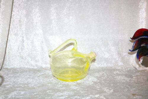 TS  Vintage Imperial Glass Vaseline Tea Pot Kettle!