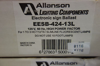 ALLANSON ELECTRONIC SIGN BALLAST EESB-424-13L. 1-3 HO, T-8 120volt NOS