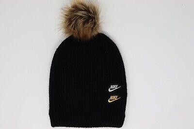 Nike Women's Knit Pom Beanie Faux Fur Cap Black Gold Silver CK2388-010 NEW