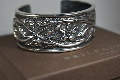 (Silpada Sterling Silver Floral Cuff Bracelet B1475 .925 HTF Leaf Wide Repousse)