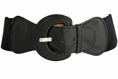 New Women Fashion Belt Hip High Waist Stretch Black Big Buckle Plus Size M L XL