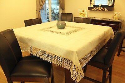 "Crochet Tablecloth Light Linen & Lace Cotton Blend Fabric Beige 72"" x 72"" NEW"
