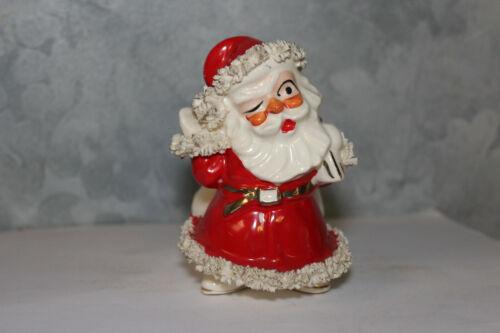 Vintage Lefton Santa Claus Planter Spaghetti Trim christmas decoration ornament