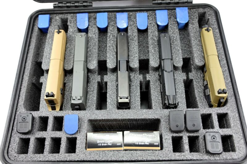New Precut 9 pistol + 25 mags military foam insert fits your Pelican 1550 case