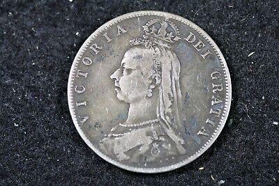 1889 - VICTORIA DEI GRATIA HALF SILVER CROWN!! #H17352