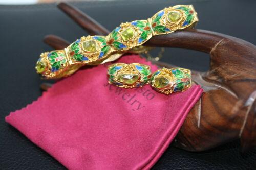 "Stunning Chinese 925 Silver Enamel Floral Filigree Peridot Earrings 8"" Bracelet"