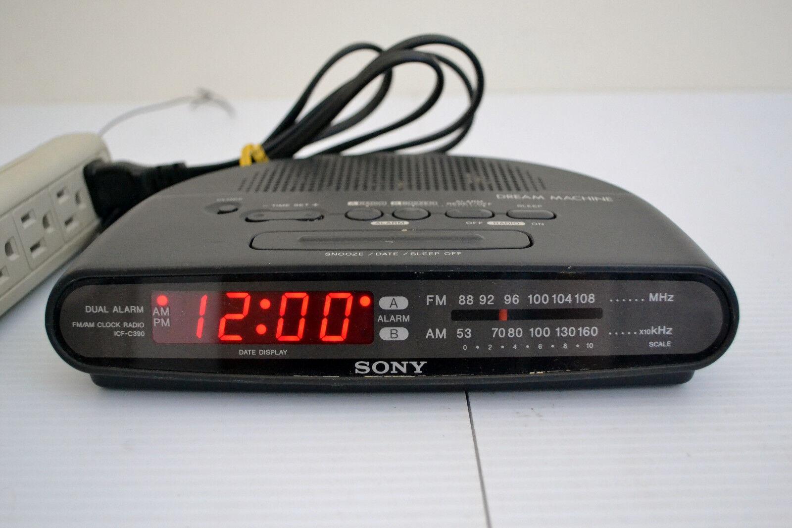 SONY DREAM MACHINE Black AM FM Clock Radio ICF-C390 Electric Battery Backup