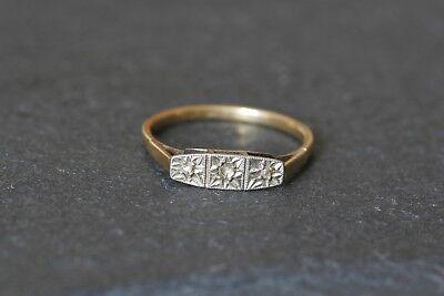 Vintage 1920s 18ct  Gold & Platinum 3 Stone Diamond Trilogy Ring Art Deco Style