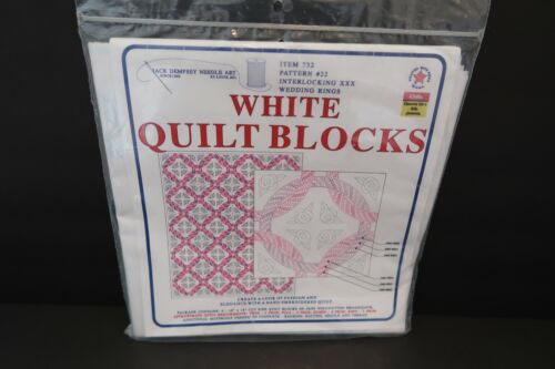 """Vintage Jack Dempsey Stamped Quilt Blocks 18"""" x 18"""" CHOICE 732 White Embroidery"""