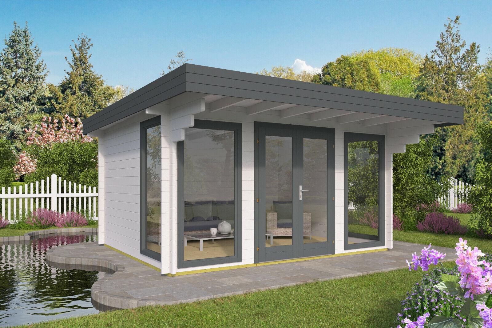 44mm Gartenhaus ISO-Glas 435x350cm Blockhütte Schuppen Gerätehaus Holzhaus Holz