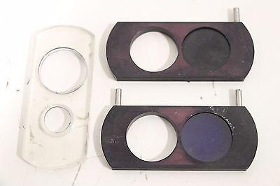Lot Of 2 Microscope Filter Slide Fisher Scientific Bausch Lomb Nikon Carl Zeiss