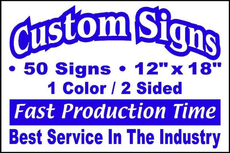 50 12x18 Double Sided Custom Coroplast Signs