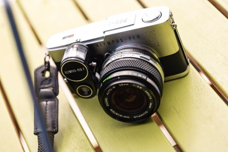 Olympus PEN-F camera with OLYMPUS FF Adapter, 28mm Lens And Olympus meter!