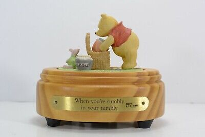 Vintage Walt Disney Co Winnie the Pooh Piglet 1980s Music Box, Rumbly Rumbly