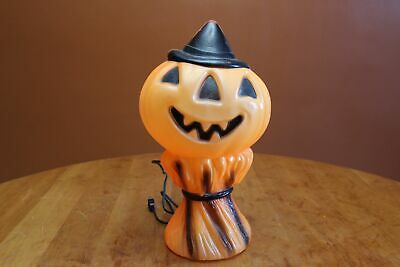 "Empire Lighted Blow Mold 14"" Pumpkin Scarecrow Painted Haystack ©1969 Atlas 02"