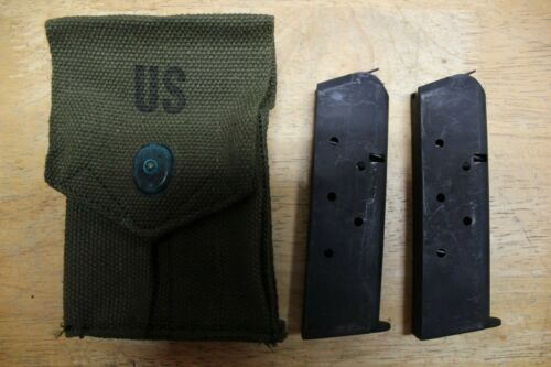 US Military Issue Vietnam Era 1911 .45 Canvas Magazine Pouch with 2 Mags 45ACP