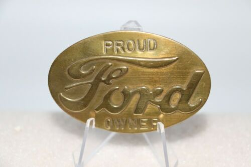 Vintage Oval Proud FORD Owner Brass Pin