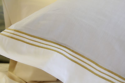 2 FRETTE Smeraldo White with Gold Piping Euro Pillow Shams, Made in Italy! New!