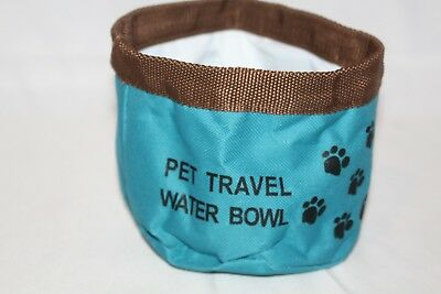 Bow Wow Pals Travel Bowl Blue Fabric Collapsible Dogs Holds 1 Liter Water Pets
