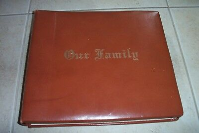 "Photo Albums Inserts (VTG ANTIQUE LEATHER ""FAMILY"" PHOTO ALBUM Inserts + Scrap Book)"