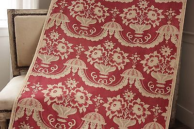 (Antique French PRINTED LINEN Fabric 18th century design 19th century)