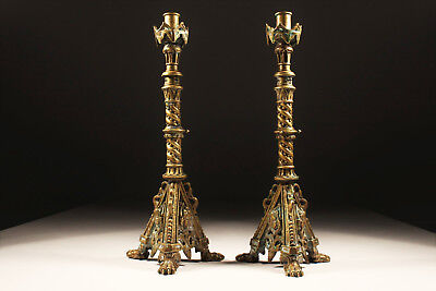 Paar Neogotische Kerzenleuchter Bronze/Messing Reich Verziert 40cm ca. 1860-80