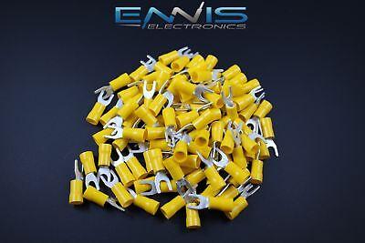 10-12 Gauge Vinyl Spade 10 100 Pk Crimp Terminal Connector Yellow Awg Ga Car