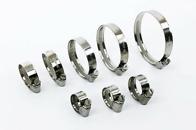 Hose Clips Stainless Steel Worm-Drive Radiator Heater Pipe Clamps 8mm to 120mm