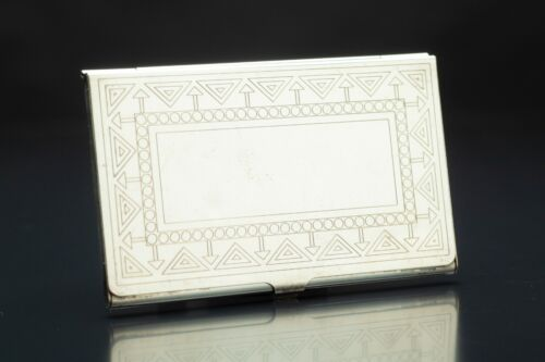 VINTAGE SILVER METAL BUSINESS CARD HOLDER - Frank Lloyd Wright