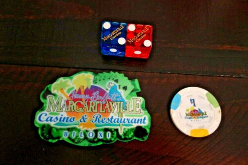 Margaritaville Biloxi Casino $1 Chip Dice Magnet Jimmy Buffett NOW CLOSED RARE