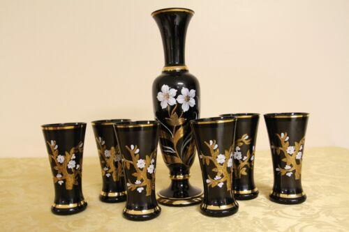 Beautiful Vintage Egermann Bohemian Glass Black Wine Decanter and 6 Glasses Set